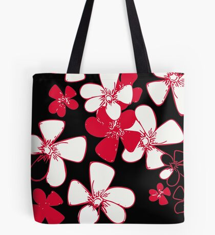 Pink White Flower Print Tote Bag