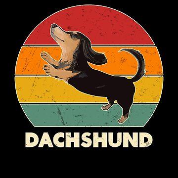Vintage Retro Black Dachshund Weiner Dog Lover Gift by JapaneseInkArt