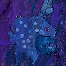 Fish Family in Seaweed, Underwater, Indigo Blue Violet by clipsocallipso