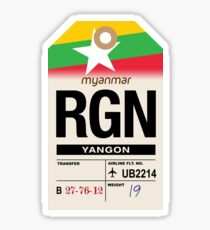 Yangon (RGN) Myanmar Airline Luggage Tag Sticker