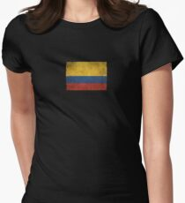 Old and Worn Distressed Vintage Flag of Colombia Women's Fitted T-Shirt