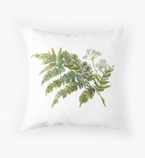 Watercolor fern and flowers Throw Pillow