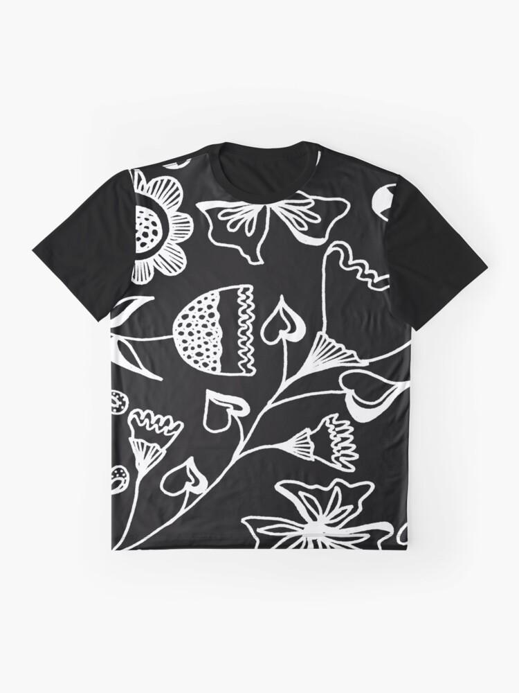 Alternative Ansicht von Folk Art in Schwarz Weiß Grafik T-Shirt