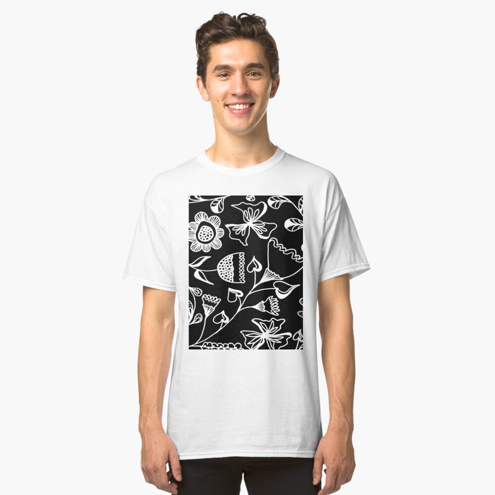 Folk Art in Schwarz Weiß Classic T-Shirt