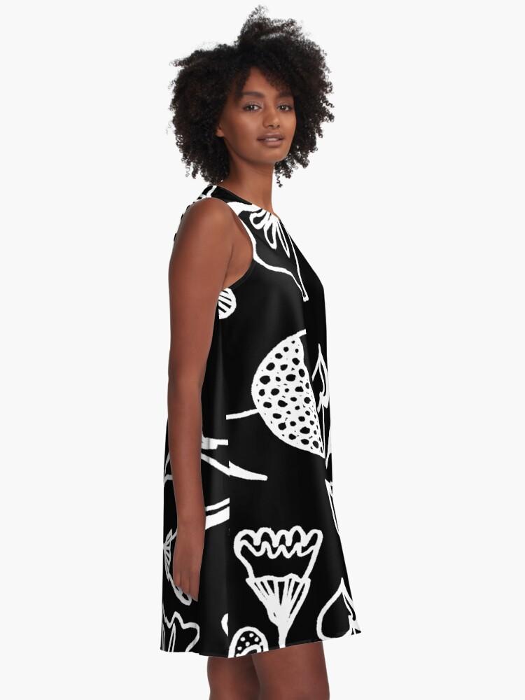 Alternative Ansicht von Folk Art in Schwarz Weiß A-Linien Kleid