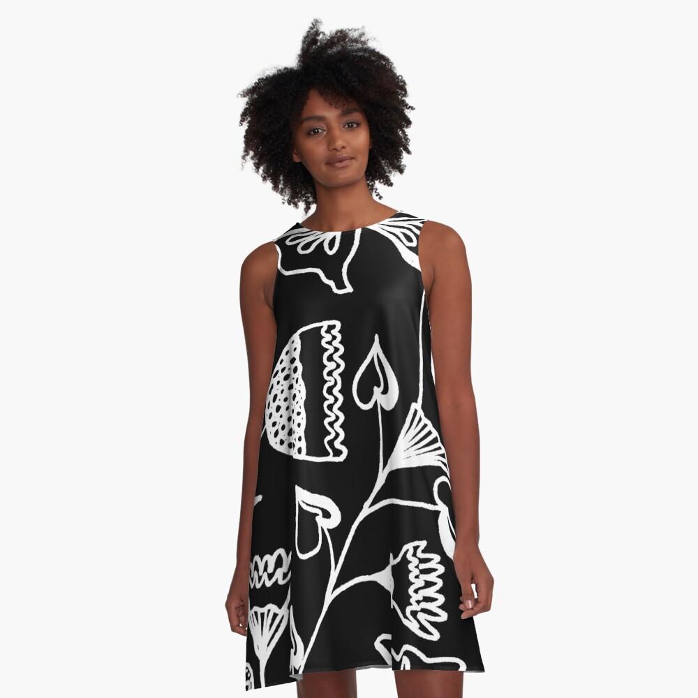 Folk Art in Schwarz Weiß A-Linien Kleid