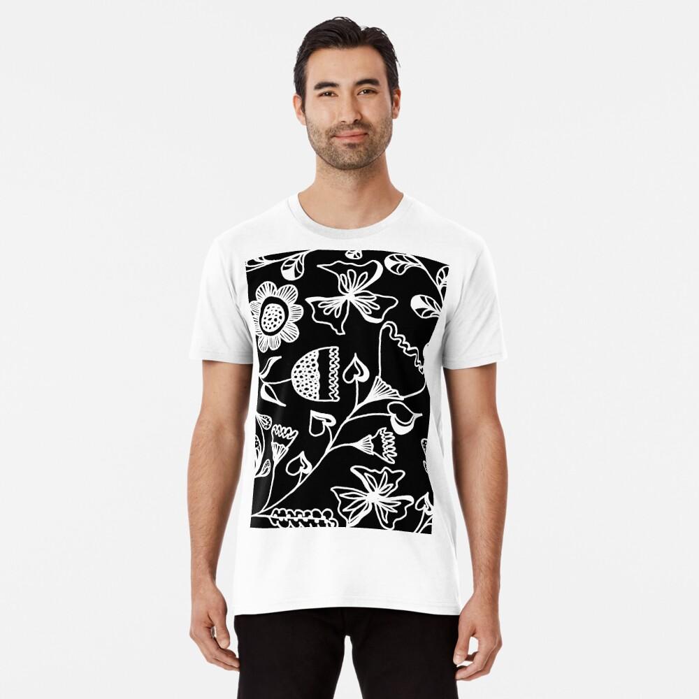 Folk Art in Schwarz Weiß Premium T-Shirt