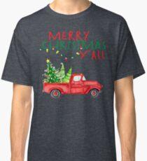 Merry Christmas Y'all Vintage Red Truck Xmas Farm Fresh Trees Classic Design Classic T-Shirt