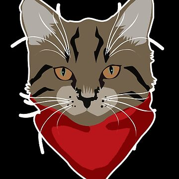 Wild cat with red cloth by MaikLegend