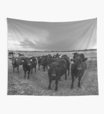 Hanging Out - Angus Cattle Hang Out with Photographer as Storm Brews in Kansas Wall Tapestry