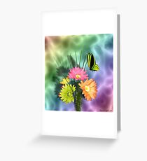 Painted Daisies and Butterflies Greeting Card