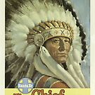 Vintage Santa Fe Indian Chief Travel Vacation Holiday Advertisement Art Poster by jnniepce