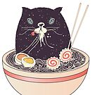 Bowl of ramen and black cat  by AnnArtshock