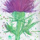 Thistle watercolour and pen by AndiPi