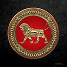 Gold Assyrian Lion on Red and Gold Medallion over Black Velvet by Serge Averbukh