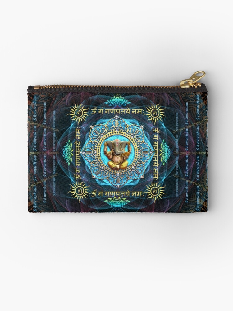'Ganesha - Removes obstacles - Om Gam Ganapataye Namah' Zipper Pouch by  art-by-angels