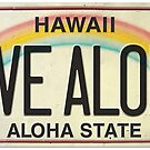 Vintage Hawaii License Plate Live Aloha by northshoresign