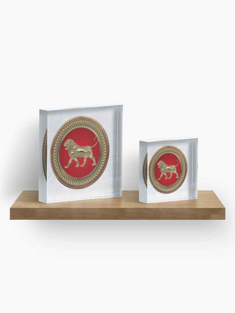 Alternate view of Gold Assyrian Lion on Red and Gold Medallion over White Leather Acrylic Block