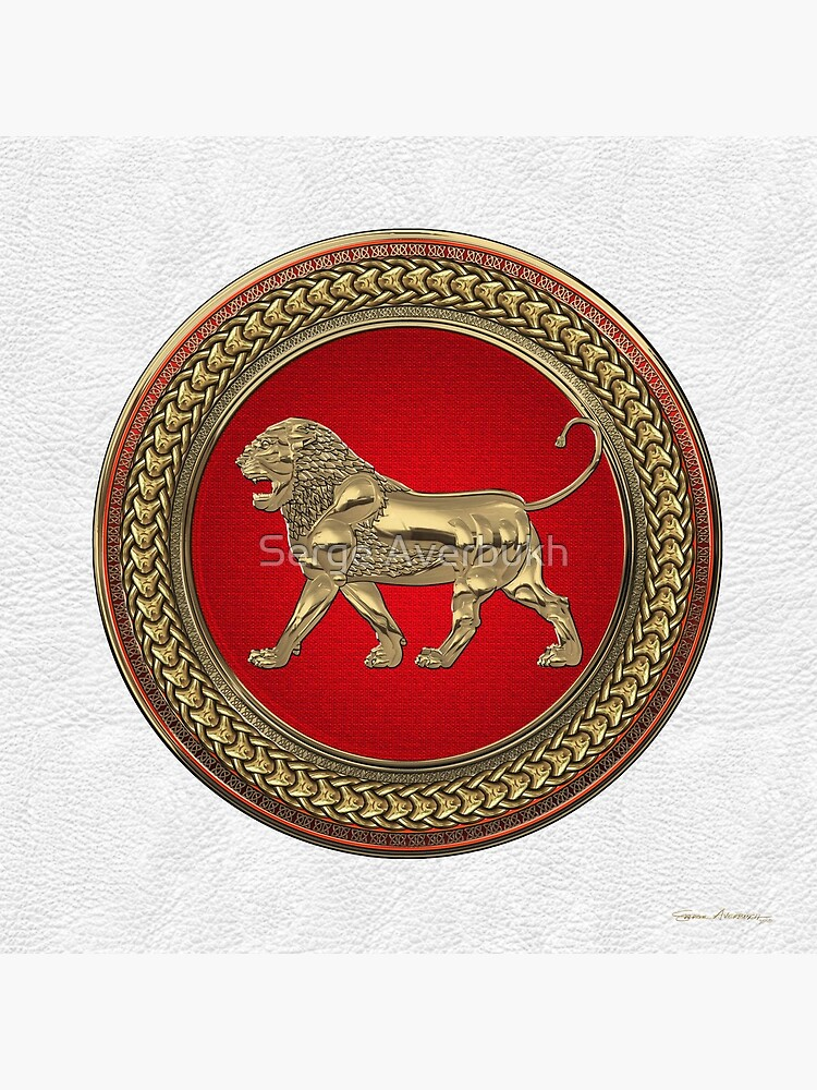 Gold Assyrian Lion on Red and Gold Medallion over White Leather by Captain7