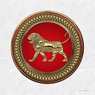 Gold Assyrian Lion on Red and Gold Medallion over White Leather by Serge Averbukh