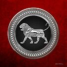 Silver Assyrian Lion on Black and Silver Medallion over Red Velvet by Serge Averbukh