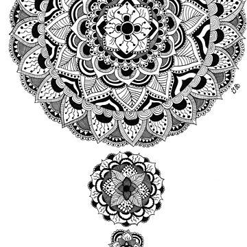 Black and white flower mandala by Ibubblesart