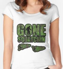 Gone Squatchin woodland  Women's Fitted Scoop T-Shirt