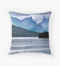 Lake Maligne-Canoes Throw Pillow