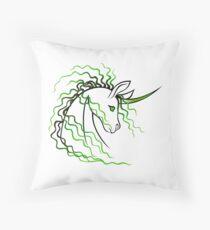 Ki-Rin (Japanese Unicorn) - Green Throw Pillow
