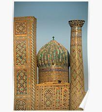 The Registan dome and minaret - Samarkand Poster