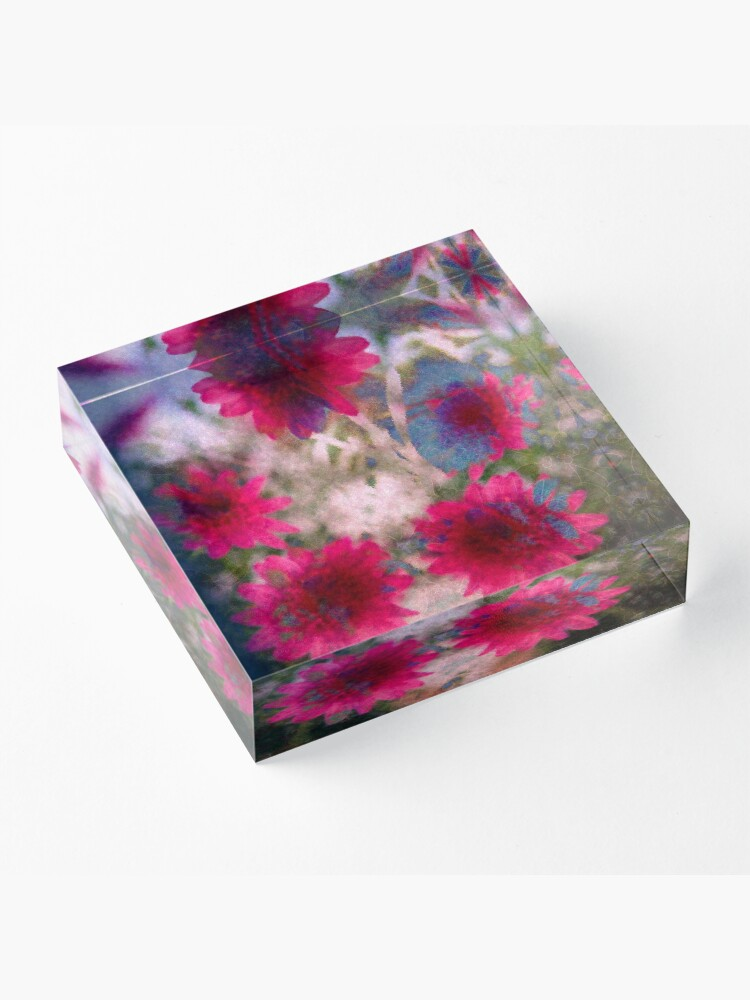 Alternate view of Abstract flowers Acrylic Block