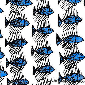 Black and White Abstract Fish by ntartworks