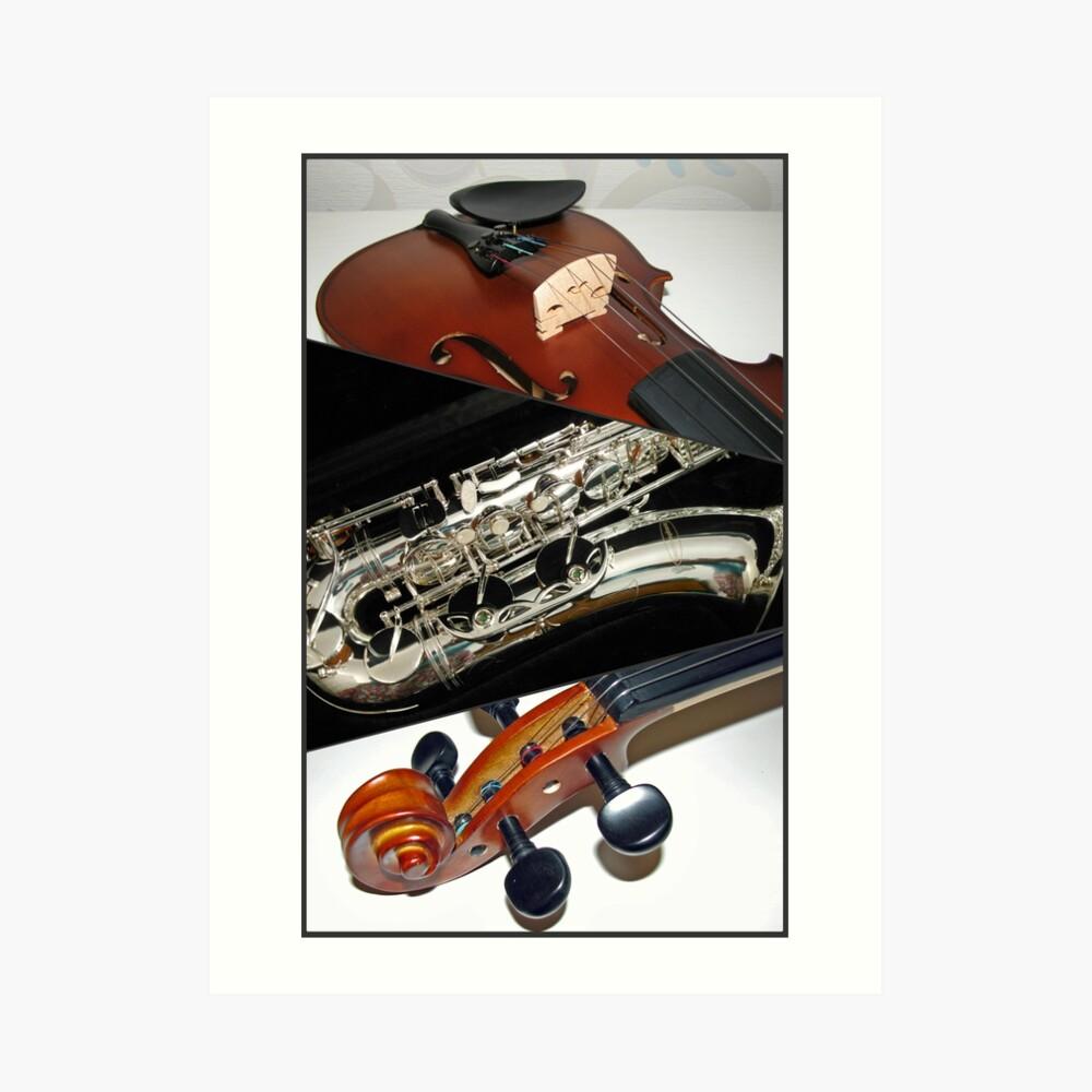 Violin and Saxophone Collage Kunstdruck