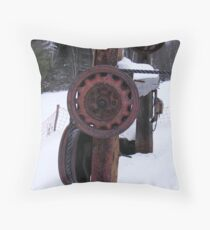 wheel of progress have not turned too fast for Mt Prospect rope tow Throw Pillow