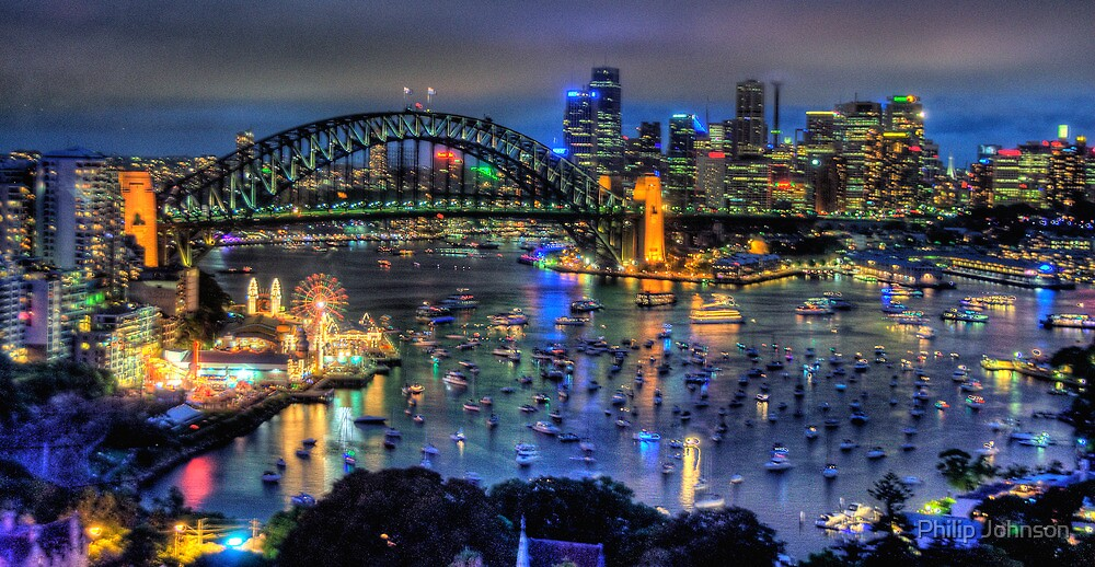 City Of Light - New Years Eve, Sydney Harbour ,Australia - The HDR Experience by Philip Johnson