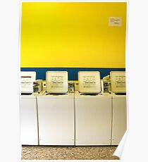 Ensure washers and dryers are clean before use. Poster