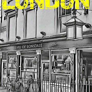 London Grayscale Yellow Logo Street Scene  by cutehuur