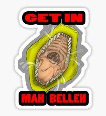 Get In Mah Belleh Yellow Sticker