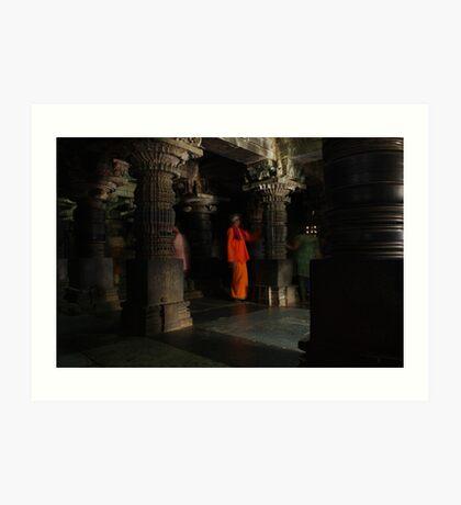 Orange man, Somnathpur, India Art Print