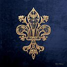 Gold Filigree Fleur-de-Lis over Blue Velvet by Serge Averbukh