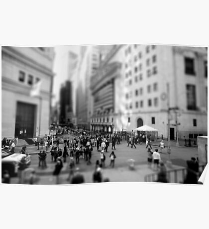New York Wall Street & Stock Exchange Black and White Poster