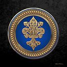 Gold Filigree Fleur-de-Lis on Gold and Blue Medallion over Black Velvet by Serge Averbukh