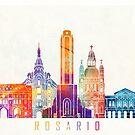 Rosario landmarks watercolor poster by paulrommer