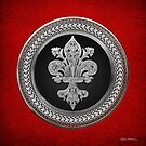 Silver Filigree Fleur-de-Lis on Silver and Black Medallion over Red Leather by Serge Averbukh