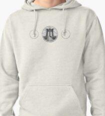 Brooklyn Bridge New York City (black & white triple badge emblem on white) Pullover Hoodie