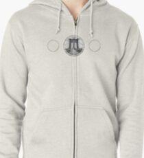 Brooklyn Bridge New York City (black & white triple badge style on white) Zipped Hoodie