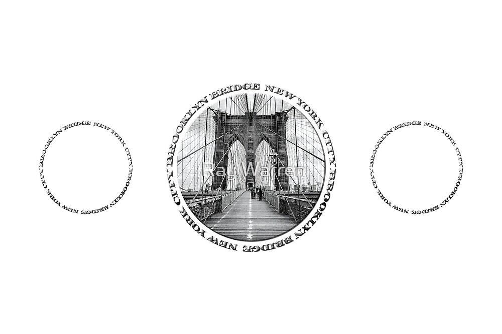 Brooklyn Bridge New York City (black & white triple badge style on white) by Ray Warren