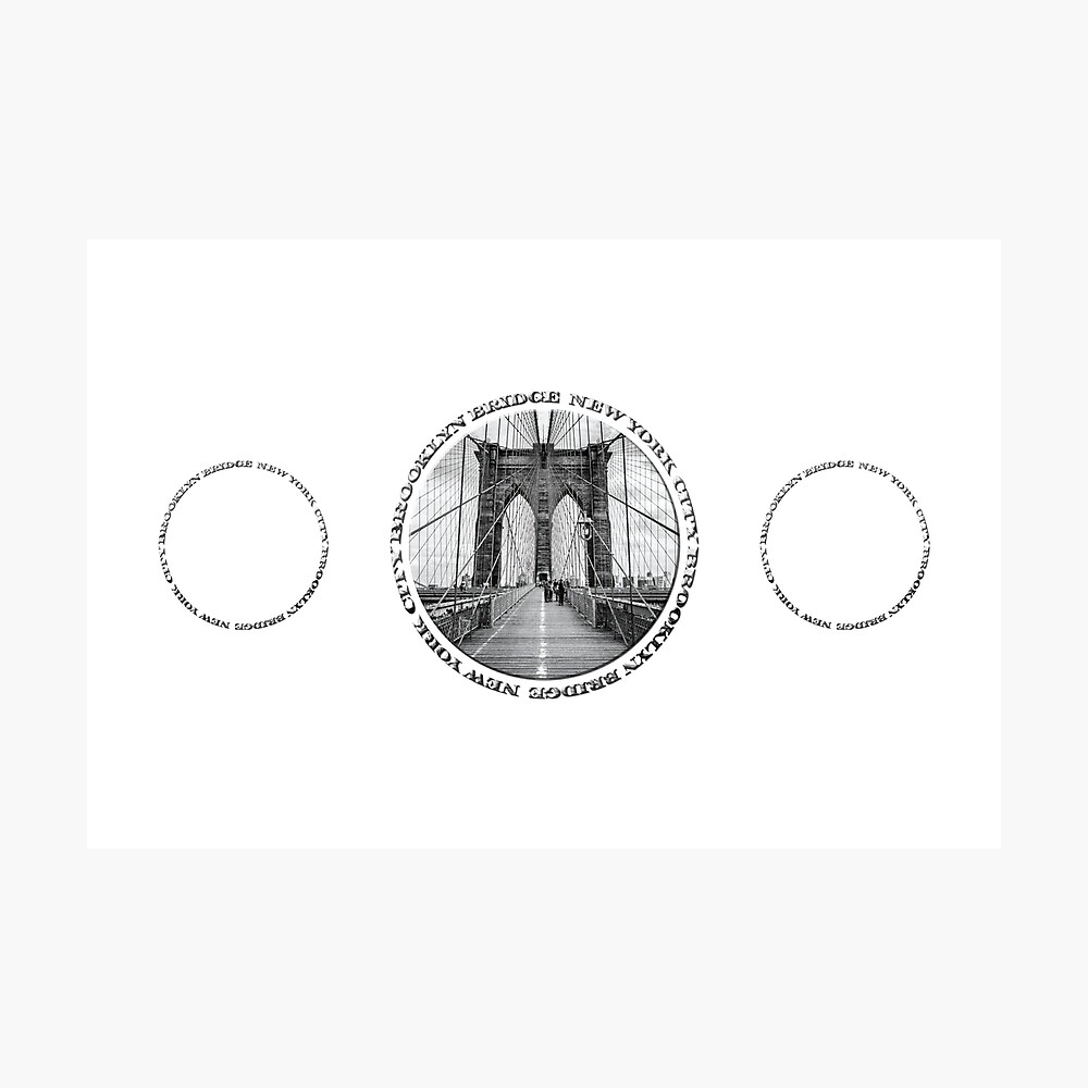 Brooklyn Bridge New York City (black & white triple badge style on white) Photographic Print