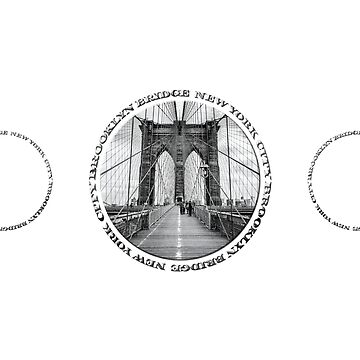 Brooklyn Bridge New York City (black & white triple badge style on white) by RayW