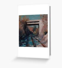 Highway overpass on the railroad tracks Greeting Card